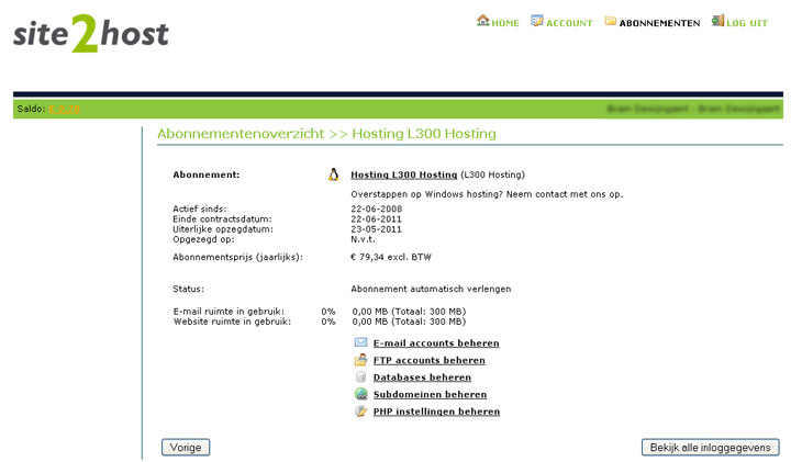 Controlepaneel hosting